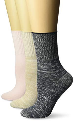 Hanes Women's ComfortSoft Cuff Socks 3-Pack, Khaki/Pink/Navy Free Feeder, 9-11 (Shoe Size 5-9) - Socks Lightweight Cuff
