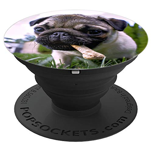 Pug Puppy with Bone Puppy Lovers Dog Lovers Pug Lovers - PopSockets Grip and Stand for Phones and Tablets