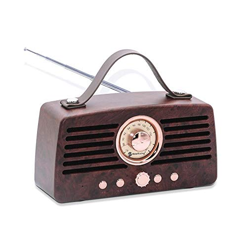 Antique Radio and Vintage Style Bluetooth Speaker, FM Radio, Built-in Mic, 3.5 mm Audio Jack, Support TF Card/Micro SD Card and USB Lnput, up (Antique Radio Knobs)
