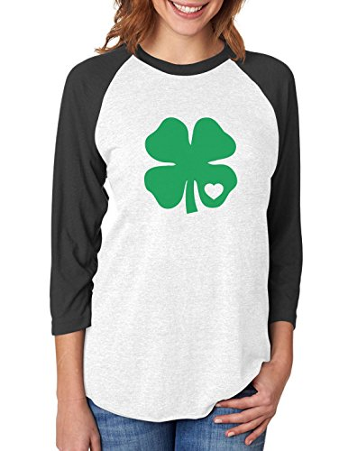 Irish Green Clover Heart St. Patricks Day 3/4 Women Sleeve Baseball Jersey Shirt X-Large Black/White