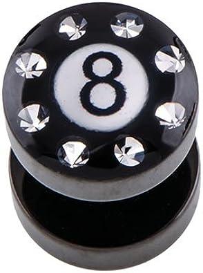 piercingline® Super Black Fake Plug bola 8 de billar Cristal borde ...