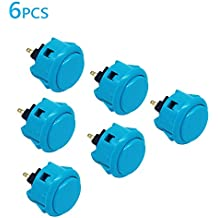 6Pcs 30mm Arcade Push Buttons Blue for Sanwa OBSF-30 Jamma Games Parts Games Buttons Arcade Push Button Joystick Video Game Console