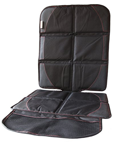 Car Seat Protector|Best For Protecting Front & Back Seats|Leather,Fabric,Vinyl or Cloth|One Size Fits Most Cars/SUV|Secure Fit With Adjustable Straps|Bonus Storage Pockets For Child & Baby Items