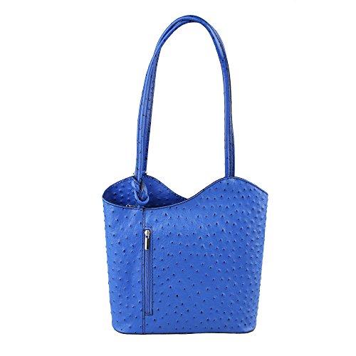 Fabriqué bandoulière royal à en d'autruche Borse cuir véritable Chicca Cm Italie Sac femme Modèle 28x30x9 en Bleu wR8fq
