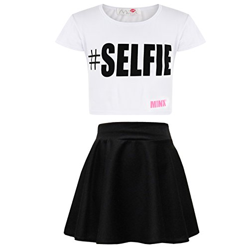 Kids Girls Comic Graffiti Leopard #SELFIE Crop Top & Fashion Skater Skirt Set -