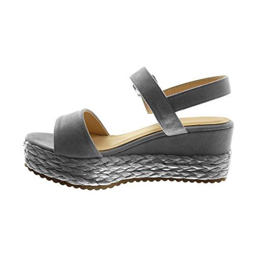 Talon la de Sandale Chaussure 7 Tréssé Lanière Mode Angkorly Cheville Plateforme Femme Plateforme cm Paille Compensé avec Gris Lanière Mule 6pvnz