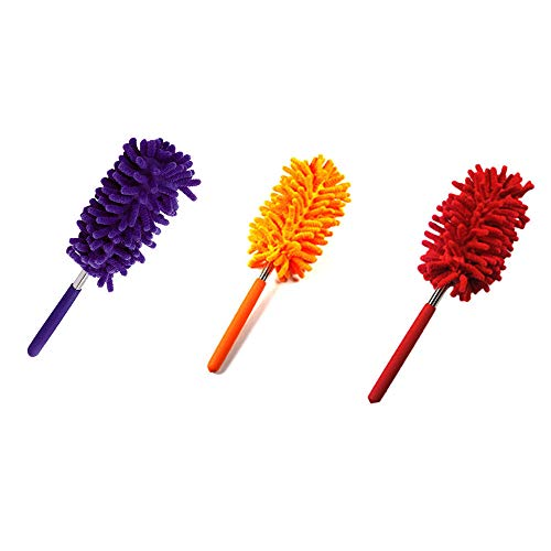 Freeby Dusting Brush, Telescopic Fibre Duster Extendable Cleaning Home Car Cleaner Dust Handle (Purple) by Freeby (Image #3)