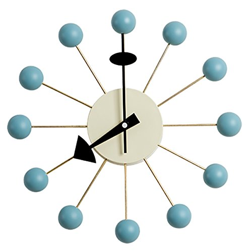 Emorden Furniture George Nelson Ball Clock in Blue,Atomic Wooden Wall Clock Mid Century Handmade Antique Retro Nelson Style