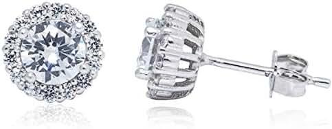 Classic Rhodium Round CZ Cubic Zirconia 5mm Stud Earring
