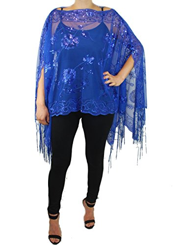 (Love My Seamless Womens Mother of The Bride Beaded Fashion Shawl Tunic Poncho Cover up Top (Royal)