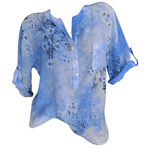 Nevera Tops for Women Printed V Neck Cuffed Sleeve Loose Button Tunics Tops Plus Size for ()
