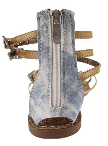 Women's Sam & Libby Karli Tall Gladiator Sandal with Triangle Studs Brown/ Denim iGKFzoo