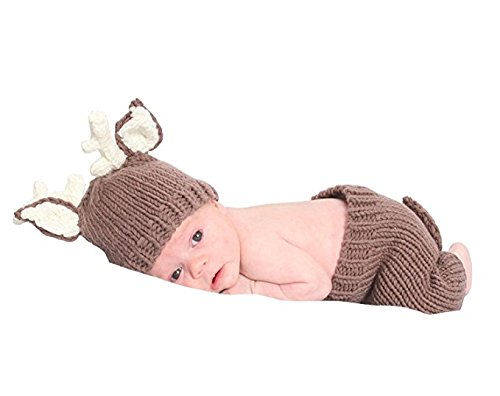 Tueenhuge Baby Photo Props Baby Girls Boys Knit Baby Outfits Costume Hat and Pants (Deer)]()