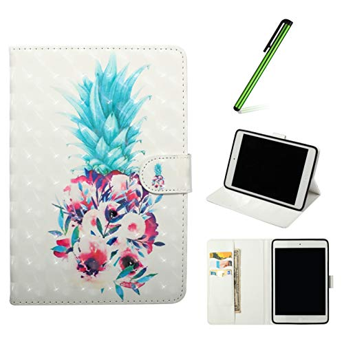 Leather Case for iPad 9.7 2018/2017 (6th/5th Generation),QFFUN Glitter Pattern [Pineapple] Ultra Thin Lightweight Magnetic Closure Stand Folio Tablet Cover Shockproof Protective Case and Stylus Pen