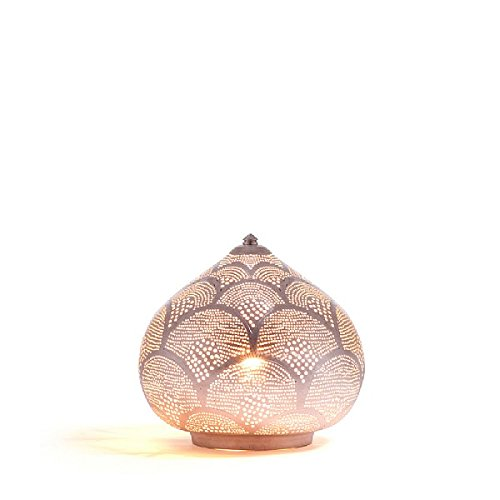 Lombok phoenix design table lamp small brass with a silver finish amazon co uk lighting