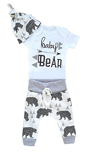 Aliven 3Pcs/Set Newborn Baby Boys Girls Bear Bodysuit Romper Jumpsuit + Long Pants + Hat Outfits Clothes