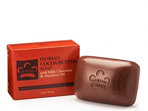 Nubian Heritage Ivorian Cocoa Butter Milk Chocolate and Hazelnut Oil Bar Soap 5 oz - Pack of 12 Ivorian Cocoa Butter Soap