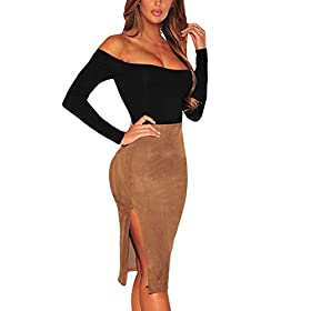 - 41rKeop3NSL - Eiffel Women's Long Sleeves Bodysuit Off Shoulder Leotard Jumpsuits Rompers Tops