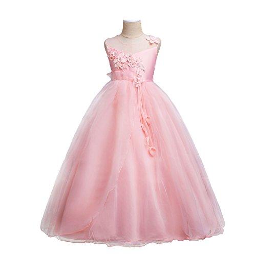 Nozze Ragazze Convenzionale Rosa Vestono 4153 Fiori Di Maniche Wolfteeth Di Da Di Compleanno Si Festa Principessa Sera Vestito 1qBxZwP