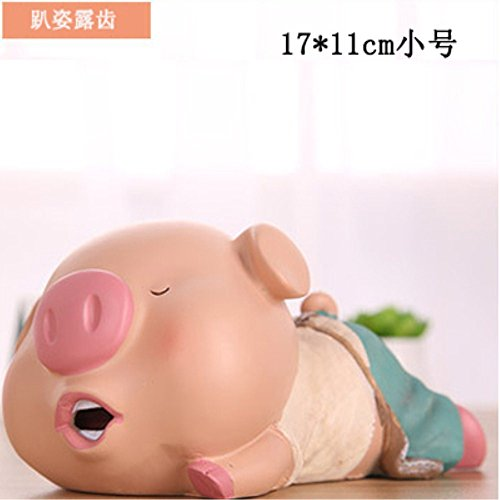 S-Size Kawaii Cute Pig Piggy Bank Resin Personalized Baby Nursery Decor (Toot mouth) by GH8