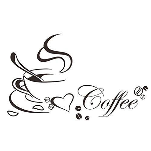 Ularma Wandaufkleber Abnehmbare Kaffeetasse Wandtattoo Wanddeco Wohnzimmer Küche Deco, schwarz
