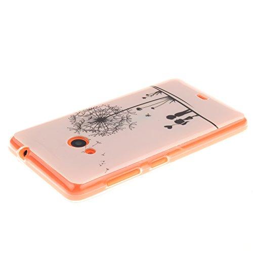 Microsoft Nokia 535 Funda,Ligero a Prueba de Choques Flexible Ultra Fino Suave TPU Parachoque Carcasa MAGQI Tecnología IMD Diseño Impreso Vendimia Serie Patrón [Absorción de Impacto] Resistente a los  Diente de León Amor