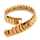 "K Mega Jewelry Golden Shiney Tungsten Magnetic Hematite Mens Bracelet 8"" B385"