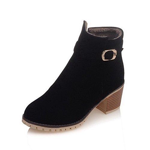 AgooLar Women's Zipper Kitten Heels Imitated Suede Solid Low-Top Boots Black 0kDeNB5Bv1