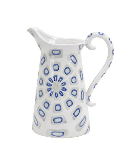 Sagebrook Home 12200-02 Decorative Ceramic Handled Pitcher, White/Blue Ceramic, 9 x 6 x 11 Inches