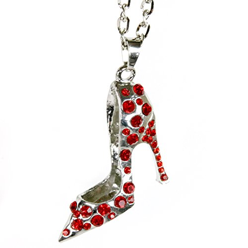 (Silver Bling High Heel Shoe Mirror Car Charm Hanger Ornament Red Rhinestones with)