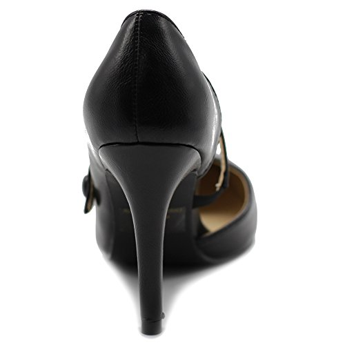 6e73ad3e74e99 Ollio Women's Shoe Classic Mary Jane Pointed Toe D'orsay High Heel ...