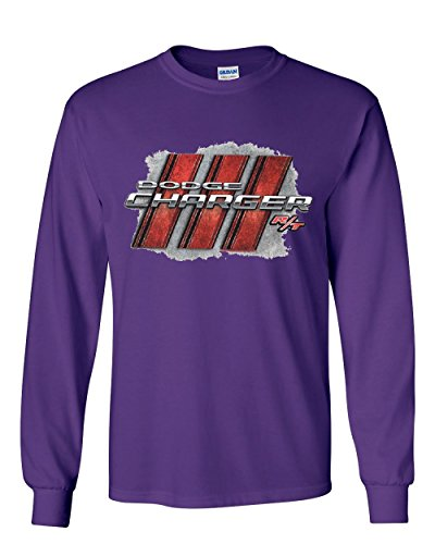 Dodge Charger R/T Long Sleeve T-Shirt American Muscle Car Tee Purple XL