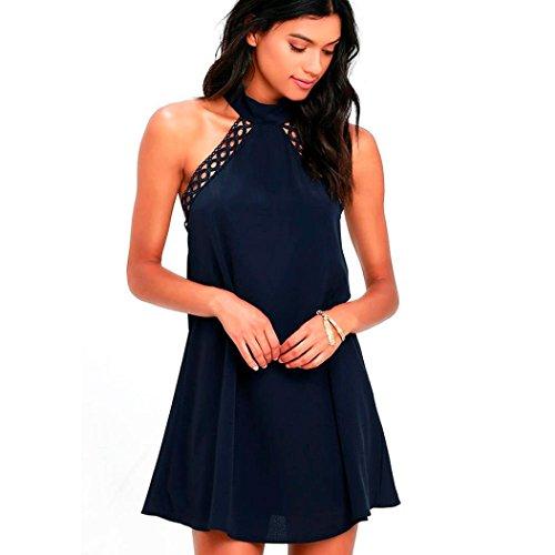 Sumen Women Sleeveless Lace Chiffon Mini Dresses (Navy Blue, S)