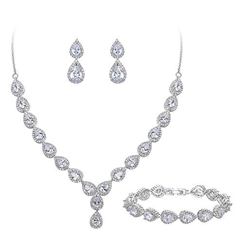 BriLove Wedding Bridal CZ Necklace Bracelet Earrings Jewelry Set for Women Teardrop Infinity Figure 8 Y-Necklace Tennis Bracelet Dangle Earrings Set Clear Silver-Tone April Birthstone