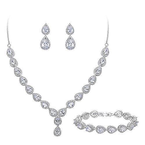 - BriLove Wedding Bridal CZ Necklace Bracelet Earrings Jewelry Set for Women Teardrop Infinity Figure 8 Y-Necklace Tennis Bracelet Dangle Earrings Set Clear Silver-Tone April Birthstone