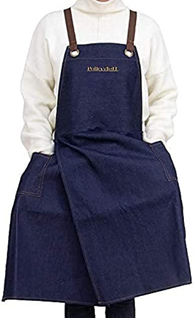 PotteryToTT Comfortable Denim Apron Bundled with Microfibre Cloth and Drawstring Bag Keeps Clothes Clean No-Flash Apron Covers Down Your Legs!