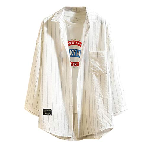 Fun1980s Mens Long Sleeve Lapel Striped Loose Pocket Three Quarter Sleeve Athletic Shirt Tops Pullover]()