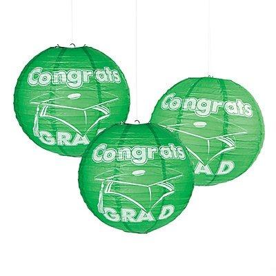 Green Congrats Grad Paper Lanterns 2 sets