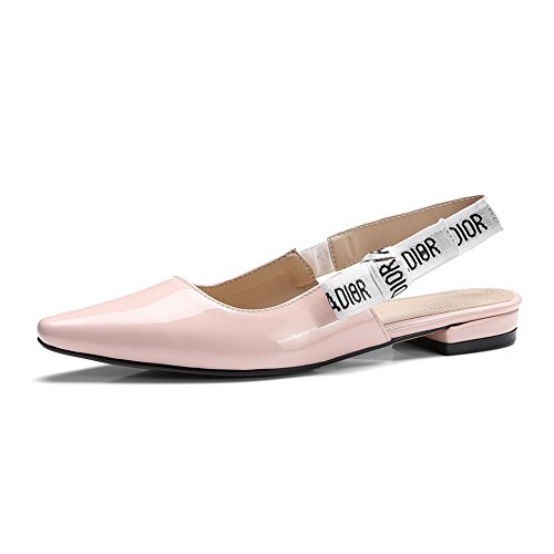 Pink Toe Square Flats MJS02778 1TO9 Square Womens Heels Shoes Pleather Color Assorted HffSP6nC