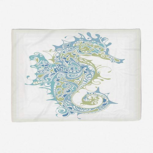 Greek Afghan Throw Blanket - Super Soft Throw Blanket Custom Design Cozy Fleece Blanket/Perfect for Couch Sofa or Bed/78x49 inches/Animal Decor,Greek Art Textured Ancient Seahorse Idol of Spiritual Life Cycle Artwork,Light Blue G