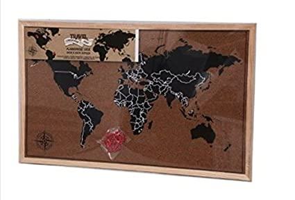 Framed Cork Board World Map Pin Board Travel with Pins ...
