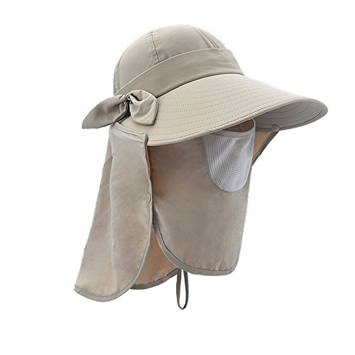 South Golf Dakota Ball (Lenikis Women's UPF50+ Sun Visor Foldable Wide Brimmed UV Protection Hat with Detachable Flaps Khaki)