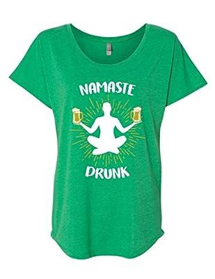 St. Patrick's Day Namaste Drunk Women's Funny Drinking Flowy T-Shirt Dolman