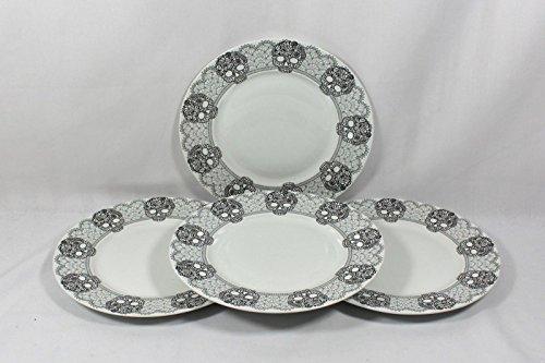 222 Fifth Skull Lace Black/Gray Halloween Porcelain Dinner Plates
