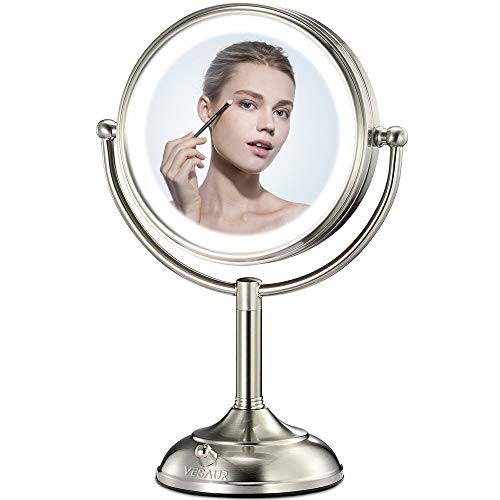 "VESAUR Professional 10"" [Large Tall Size] Lighted Makeup Mirror, 10X 2-Sided Magnifying Vanity Mirror with 48 Medical LED Lights, Senior Pearl Nickel Cosmetic Mirror, Brightness Adjustable (0-1100Lux)"