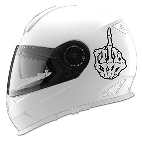 Dedo Medio Esqueleto Auto Calcomanía de carreras de coches casco para moto–12,7cm, Negro