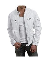 Men's Biker White Leather Jacket