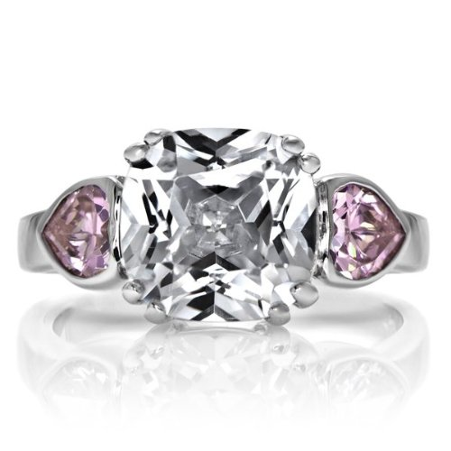 Three Pink Ring Czs - Cindy's Cushion Cut and Pink Heart CZ Three Stone Ring