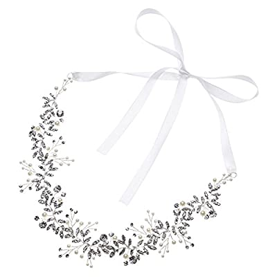 Remedios Handmade Vintage Silver Crystal Pearl Bridal Headband Wedding Hair Pieces