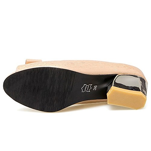 RAZAMAZA Mujer Moda Peep Toe Sandalias Tacon Ancho Tacon Medio Sin Cordones Zapatos De Bowknot Rose
